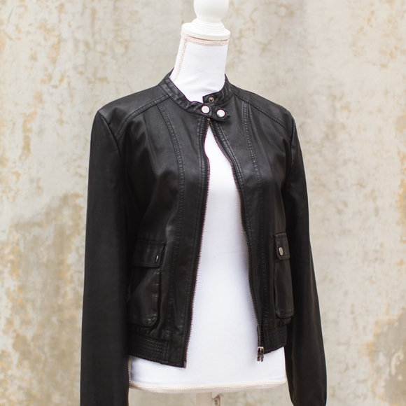 22ae84239 Topshop Womens Leather Bomber Jacket